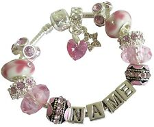 Ladies Girls ANY NAME Charm Bracelet  Pink SWAROVSKI Element Crystal Heart Gift