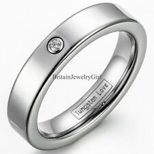 4mm High Polish Comfort Fit Tungsten Carbide CZ Women's Wedding Ring Size 5-8
