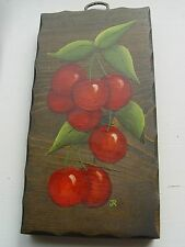 VINTAGE HAND PAINTED WOODEN TOLE PAINTED PLAQUE WITH CHERRIES