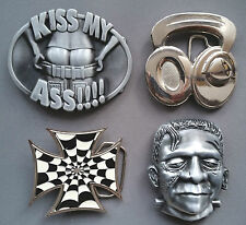 Belt Buckles Novelty- Kiss My Ass, Headphones, Iron Cross Web, Frankenstein