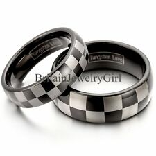 Laser Etched Comfort Fit Tungsten Carbide Men Women Ring Wedding Dome Band