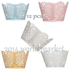 New 12pcs Heart Pearl Lace Wedding Cupcake Wrapper Baking Cake Cups Wraps #T