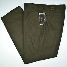 NWT TASSO ELBA Brushed Flannel Brown Flat Front Refined Dress Pants 32 34 36 38