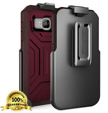 HTC ONE M9   Tough & Armor Rugged [Defender PRO] Case + Belt Clip Holster   Red