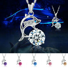 Women 925 Sterling Silver Rhinestone Jumping Dolphins Pendant Chain Necklace