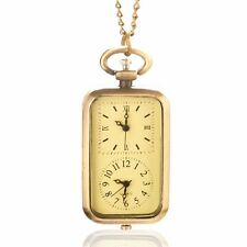 Cute Bronze Quartz Pocket Watch Necklace Chain Pendant Mens Womens Boys Girl
