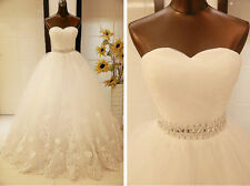 New TOP Luxury White/Ivory Lace Bridal Gown Wedding Dress Ball Gown Custom Size