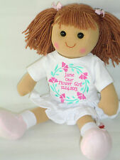 Personalised Rag Doll Bridesmaid Flower Girl Doll Wedding Embroidered Gift