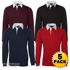 5 x Kids Rugby Pullover Polo Shirt Contrast Boys Girls Jumper Sports Warm 3KRG