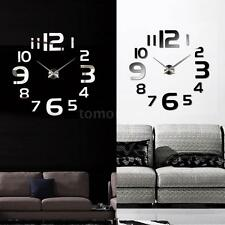 DIY Wall Clock Home Modern Decoration Mirror Living Room Decor Black and Silver