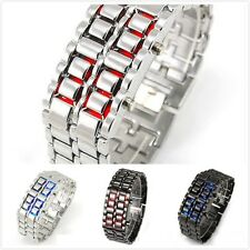 Volcanic Lava Iron Samurai Metal Faceless Bracelet Fashion LED Wrist Watch