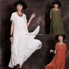 Womens Casual Loose Cotton Linen A-line Tunic Summer Sundress Shirt Long Dress