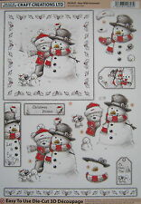 3D Christmas DIE CUT decoupage - BEAR/SNOWMAN - DCD547