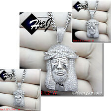 """925 STERLING SILVER SMALL/BIG JESUS FACE PENDANT+30""""X3MM CURB LINK NECKLACE*SP29"""