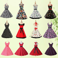 GK 1950's Vintage Rockabilly Party Audrey Hepburn Style Swing Pinup Dress Abito