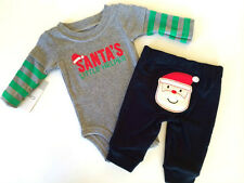 NWT Carter's Newborn & 9 Months Baby Boys Christmas Santa Bodysuit 2 PC Outfit