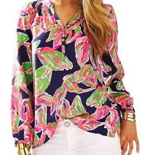 Lilly Pulitzer NWT Elsa Top Bright Navy In The Vias