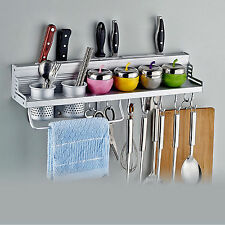 Kitchen Wall Mount Utensil Hanging Storage Rack Holder For Knife Pot Towel Tool