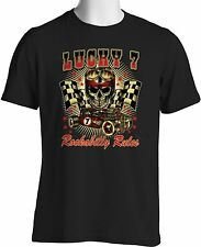 Hot Rod Rockabilly T Shirt Lucky Skull Auto Racing Rat Rod Small to 6XL and Tall