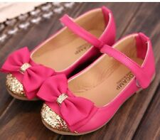 Girls Pink Summer Party Princess Shoes New Glitter Bows Formal Wedding UK SELLER