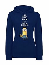 Minions Keep Calm Female Hoodie, Damen Kapuzenpulli blau