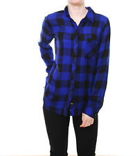 Rails Hunter Women's shirt long sleeve Buttondown Black/Cobalt Check New