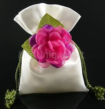 WHITE SILK POUCH BAG WEDDING FAVORS GIFTS X-MAS JEWELRY HAND MADE MIXUA