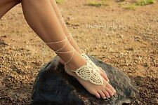 HANDKNIT Wedding Crochet Barefoot Sandals, Foot jewelry, Cotton, EUROPE