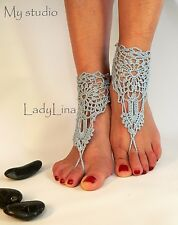 Crochet Barefoot Sandals, Victorian Lace, Foot jewelry, Wedding, HANDMADE EUROPE