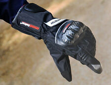 Motorcycle Cycling Waterproof Winter keep Warm Leather Protective Gloves Black