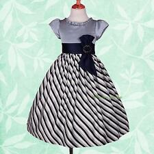Striped Pattern Bows Wedding Flower Dresses Girl Bridesmaid Party Size 4-9 FG244