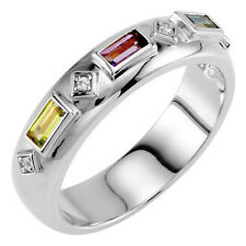 Baguette Birthstones Ring for Mom Sterling SILVER Mother's Ring 2-5 Stones