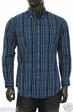 NEW MENS CLUB ROOM PLAID DELFT BLUE BUTTON FRONT SHIRT