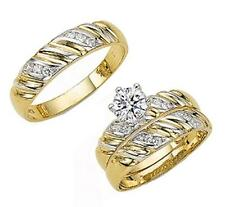 GOLD HIS & HER 14KT SOLID YELLOW GOLD CROWN CZ WEDDING RING BAND SET SIZE 5-13