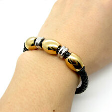 Stainless Steel gold silver black brown leather mens bracelet Magnetic buckle