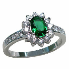BEAUTIFUL 1 CT EMERALD 925 STERLING SILVER RING SIZE 5-10
