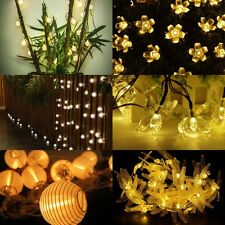 Warm White 10/20 LED Solar Lights String Fairy Lamp Garden Wedding Party Decor
