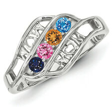 Mother's Heart Ring Sterling SILVER Mother's Family Ring 2-6 Stones