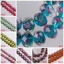 10Pcs Faceted Glass Crystal Rose Flower Inside Lampwork Beads Spacer Charms 12mm