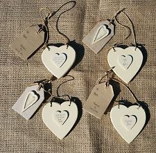 East Of India Wooden Cream Hanging  Hearts Gift tags shabby Chic