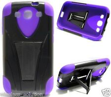 BLACK & PURPLE T-Stand Hybrid Cover Case for Samsung Galaxy S3 SIII