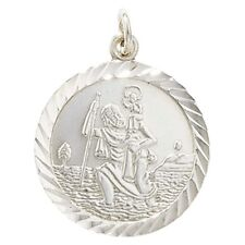 Silver Round Double Sided St Christopher Necklace