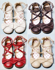 New Womens Lolita Bowknot Round Toe Mary Janes Buckle Strap Girls Cosplay Shoes