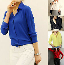 New Fashion Women Casual Blouse  Loose Long Sleeve Chiffon Shirt Tops& Blouse