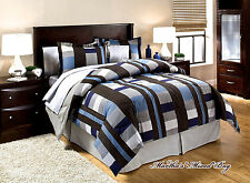 DORM Bedding Blue & Brown PLAID BLOCKS Men's Masculine 8P COMFORTER & SHEET SET