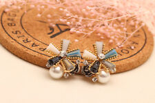 Pearl Bowknot Crystal Square Stud Earrings Gold Plated 3 Colours Mirror Glisten