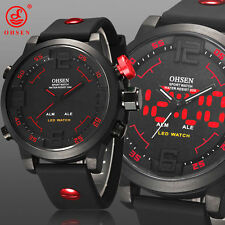 OHSEN Sports Army Military LED Digital Analog Date Day Alarm Mens Wrist Watch