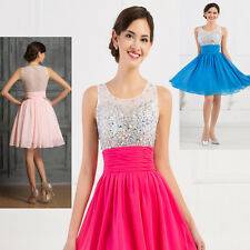CHEAP~ BEADED Short Evening Formal Ball Gown Wedding Party Prom Bridesmaid Dress