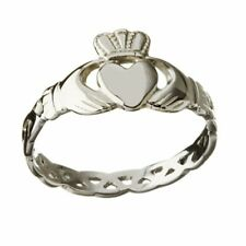 Solid 10ct White Gold Irish Celtic Claddagh Braided Shank Ring Made In Ireland