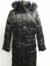 Calvin Klein Quilted Down Faux Fur Trim Hooded Coat L Black New w/Defects